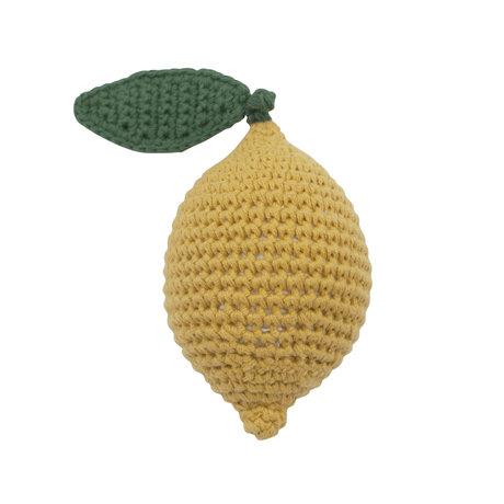 Sebra Rattle Lemon yellow green cotton 6x9cm