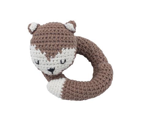 Sebra Hochet Fox coton blanc et bois brun 12x11,5 cm
