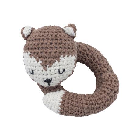 Sebra Rattle Fox braun weiße Baumwolle und Holz 12x11,5 cm
