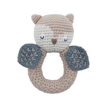 Sebra Hochet Hibou coton bleu et bois 9.5x13cm