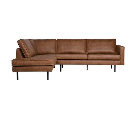 BePureHome Rodeo corner sofa left cognac brown leather 266x88 / 213x85cm