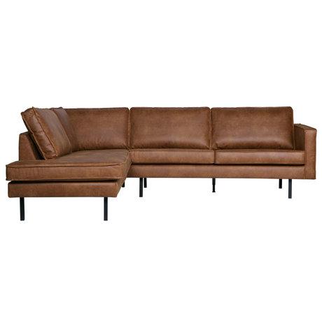 BePureHome Canapé d'angle Rodeo gauche cuir brun cognac 266x88 / 213x85cm