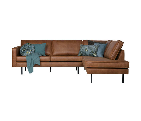 BePureHome Rodeo corner sofa right cognac brown leather 266x88 / 213x85cm