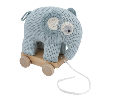 Sebra Pull Animal Elephant Fanto blue cotton 24x13x25cm