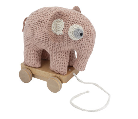 Sebra Ziehen Sie Animal Elephant Fanto rosa Baumwolle 24x13x25cm