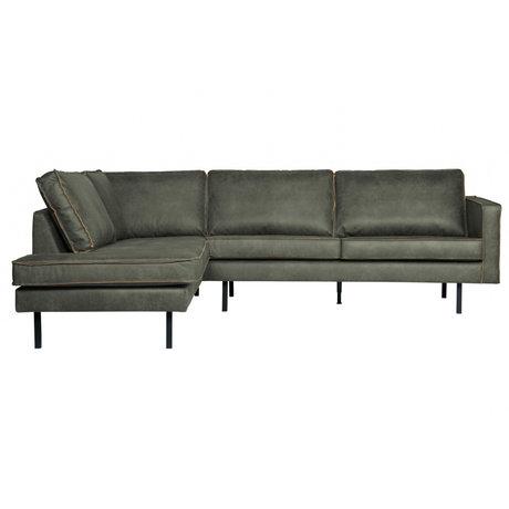 BePureHome Corner sofa Rodeo left army green leather 266x88 / 213x85cm
