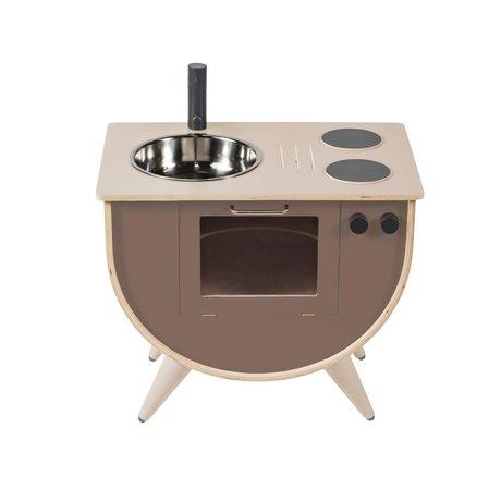 Sebra Speelkeuken warm grijs hout 58x38x50cm