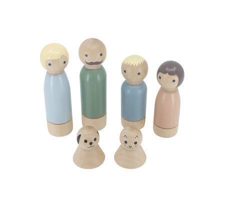 Sebra Dolls for dollhouse set of 6 wood