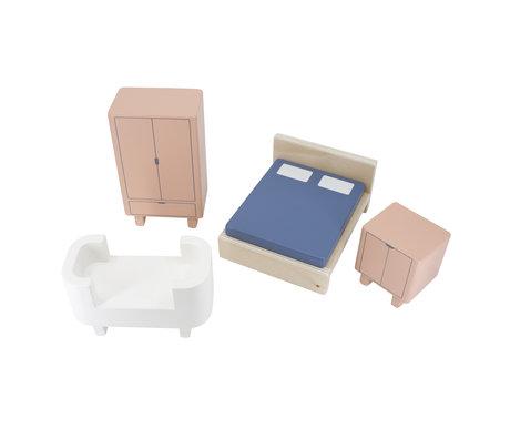 Sebra Mobilier de chambre à coucher pour maison de poupée ensemble de 4 bois