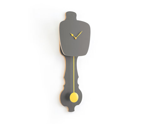 KLOQ Uhr Steingrau großes weiches gelbes Holz 75,5x26,2x8cm