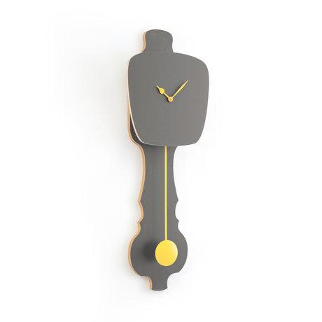 KLOQ Horloge pierre grise grand bois jaune doux 75.5x26.2x8cm