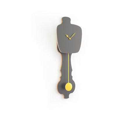 KLOQ Clock Stone gray small soft yellow wood 59x20.4x6cm