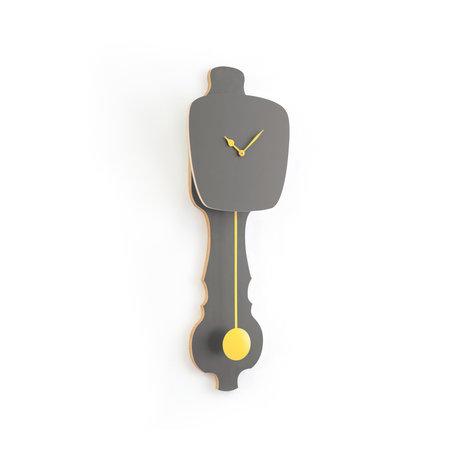 KLOQ Klok Stone grijs small zacht geel hout 59x20,4x6cm