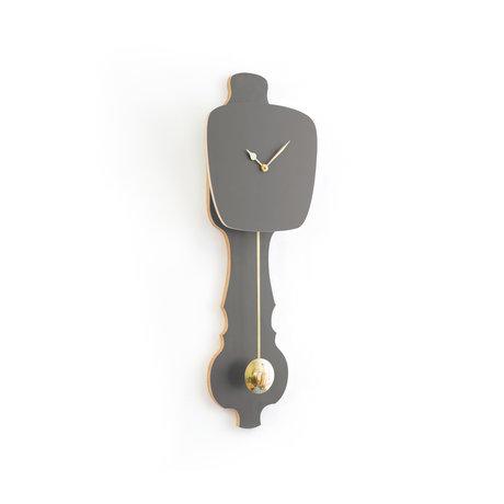 KLOQ Horloge Pierre gris petit bois doré 59x20.4x6cm