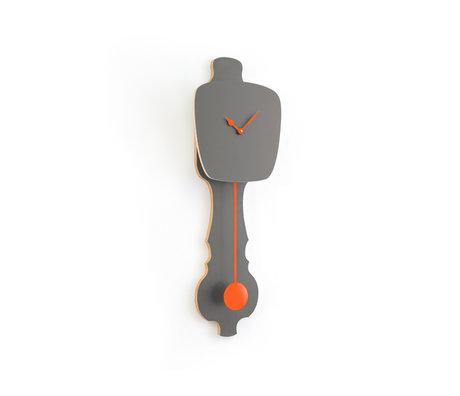 KLOQ Horloge Pierre gris petit bois orange néon 59x20.4x6cm