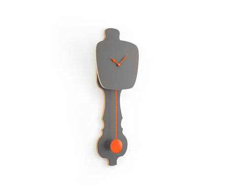 KLOQ Klok Stone grijs small neon oranje hout 59x20,4x6cm