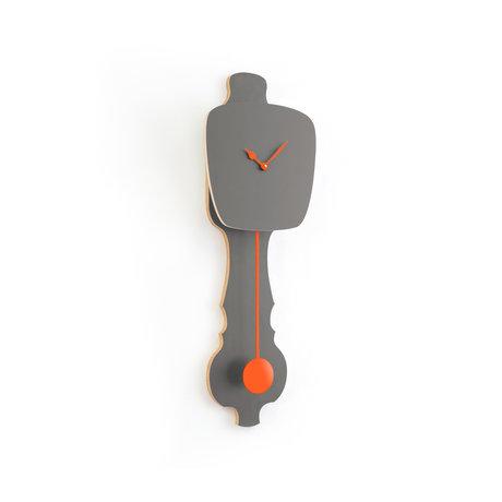 KLOQ Uhr Steingrau kleine neonorange Holz 59x20.4x6cm
