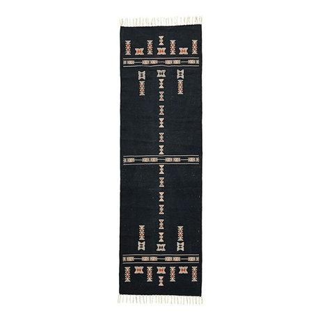 Housedoctor Vloerkleed Mila zwart textiel 240x70cm