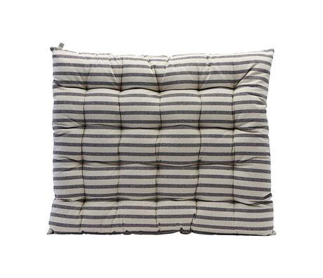 Housedoctor Coussin de chaise Coton rayé gris noir 60x70cm
