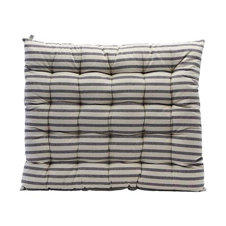 Housedoctor Stuhlkissen Gestreifte schwarze graue Baumwolle 60x70cm