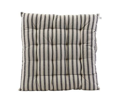 Housedoctor Coussin de chaise Coton rayé gris noir 50x50cm