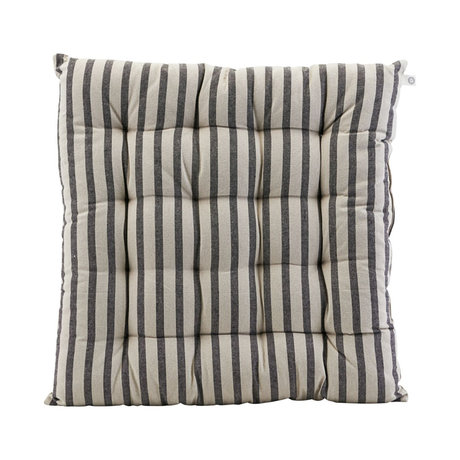 Housedoctor Chair cushion Striped black gray cotton 50x50cm