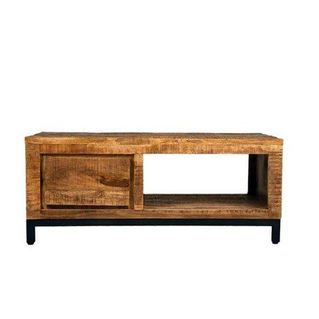 LEF collections Salontafel Gent bruin zwart hout metaal 110x60x45cm schade