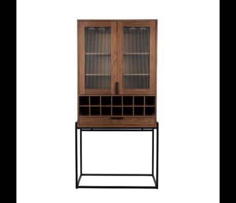Zuiver Weinschrank Travis Walnussbraun Holz 88,5x46,5x180,5 cm