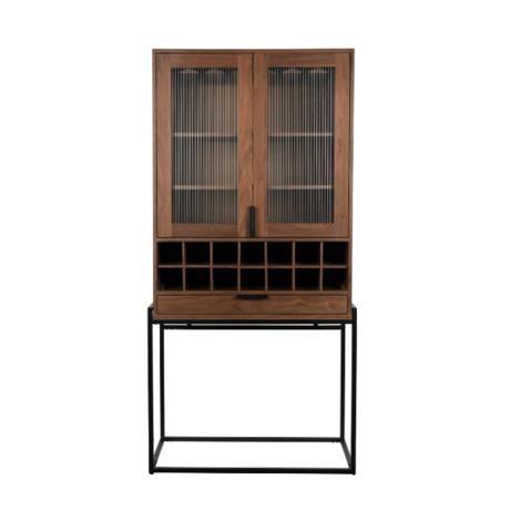 Zuiver Wine cabinet Travis walnut brown wood 88.5x46.5x180.5 cm