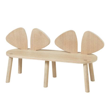 NOFRED Banc pour enfants Souris en bois de chêne 87.2x28x45.9cm