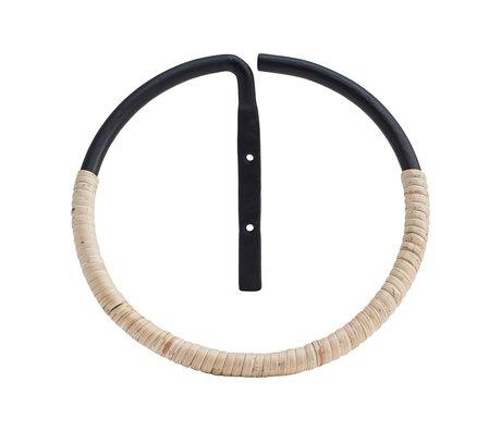 Housedoctor Handtuchring Orbit Rattan und schwarzem Stahl ⌀20cm