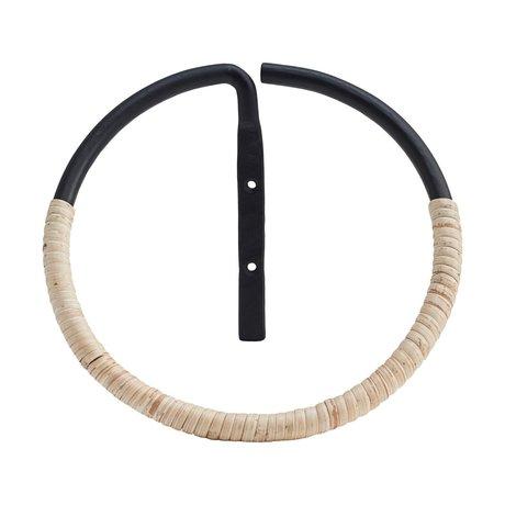 Housedoctor Towel ring Orbit rattan and black steel ⌀20cm