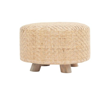 Housedoctor Stool Weave rattan brown wood ⌀60x38cm