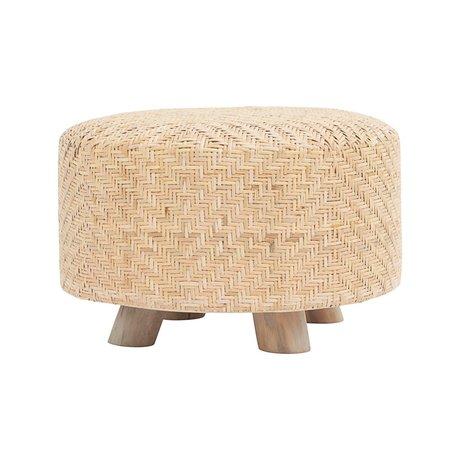 Housedoctor Hocker Weave Rattan braun Holz ⌀60x38cm
