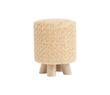 Housedoctor Stool Weave rattan brown wood ⌀36x46cm