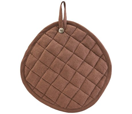 Nicolas Vahe Maniques en lin lin lin coton brun set de 2 Ø18x21cm