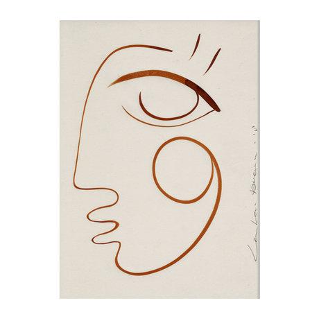 Paper Collective Poster Voller Liebe aus weißem orangefarbenem Papier 30x40cm