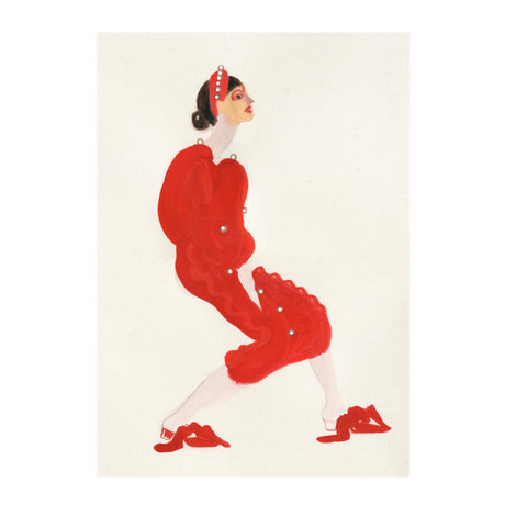 Paper Collective Poster Red With Pearls blanc, papier rouge 30x40cm