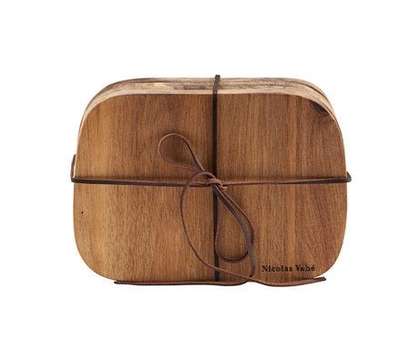 Nicolas Vahe Planche à pain beurre bois d'acacia brun 18.5x13x1.5cm ensemble de 4
