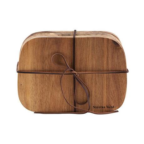 Nicolas Vahe Breadboard Butter Akazie braun Holz 18,5 x 13 x 1,5 cm 4er Set