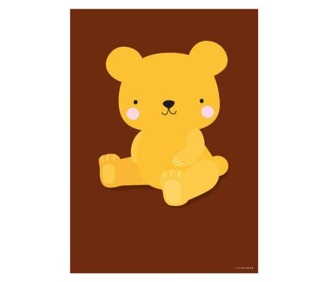 A Little Lovely Company Poster Ours Caramel Salé brun jaune papier 50x70cm
