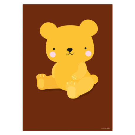 A Little Lovely Company Poster Salted Caramel Bear bruin geel paper 50x70cm