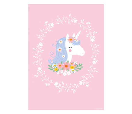 A Little Lovely Company Poster Belle Licorne rose multicolore sur papier 50x70cm