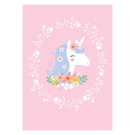 A Little Lovely Company Poster Lovely Unicorn roze multicolour papier 50x70cm