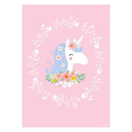 A Little Lovely Company Poster Schönes Einhorn rosa Mehrfarbenpapier 50x70cm