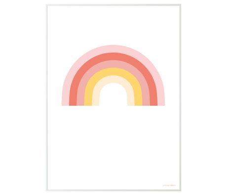 A Little Lovely Company Poster Rainbow wit multicolour papier 50x70cm