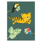 A Little Lovely Company Poster Jungle tijger groen multicolour papier 50x70cm