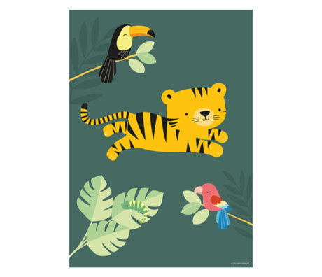 A Little Lovely Company Poster Jungle tijger groen multicolour papier 50x70cm