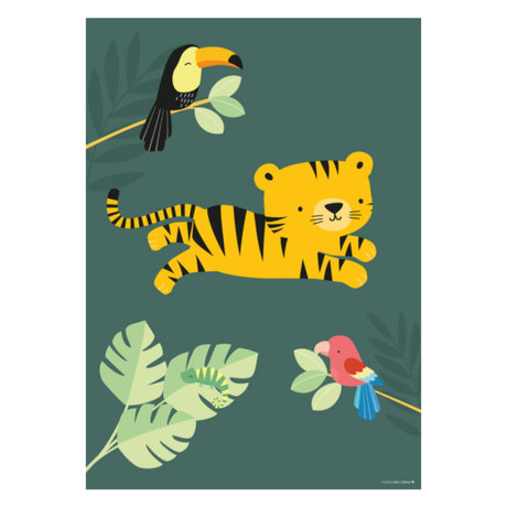 A Little Lovely Company Poster Jungle tiger green multicolour paper 50x70cm