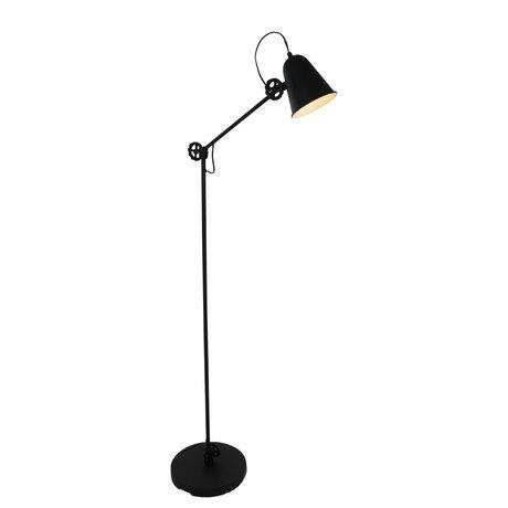 Anne Lighting Vloerlamp Dolphin mat zwart metaal 28x160cm